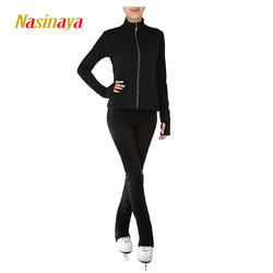 Personalizado ropa patinaje sobre hielo patinaje traje de chaqueta y pantalones de falda de lana caliente niño adulto chica negro sólido