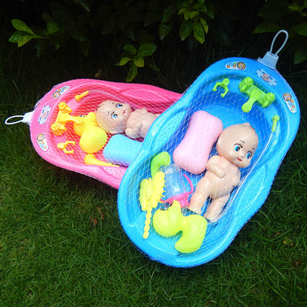 Doll Baby Bath Toys Soft Cartoon For Kids Bath Tub With Shower Accessories Set Kids Pretend Role Play Toy Random Color