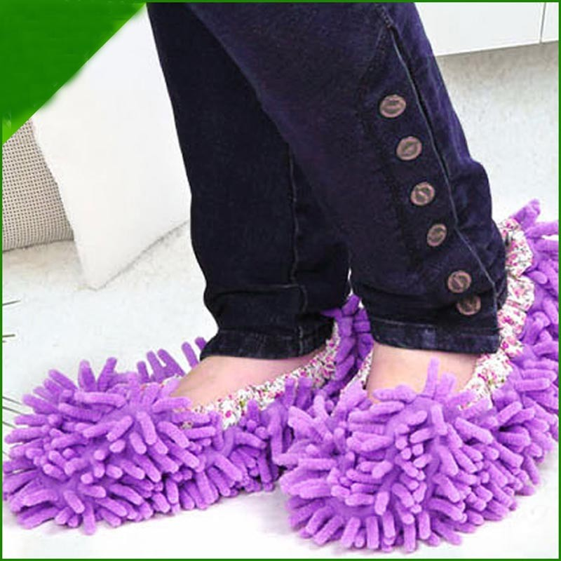 best sale shoes cover Single Mop Wipe Slippers Shoes Lazy Shoe Mop Caps Set shoes cover chenille mop slippers