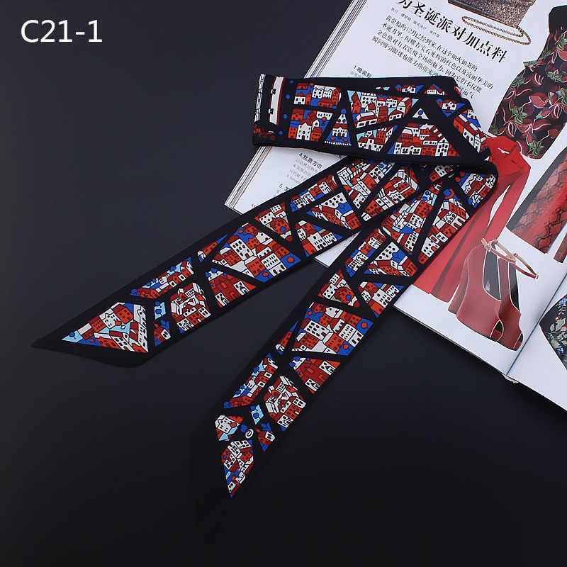 Nueva Bufanda de cinta de seda con mango estrecho y esbelto geométrico para dama Bufanda Mujer 2018 otoño chal de moda para Mujer