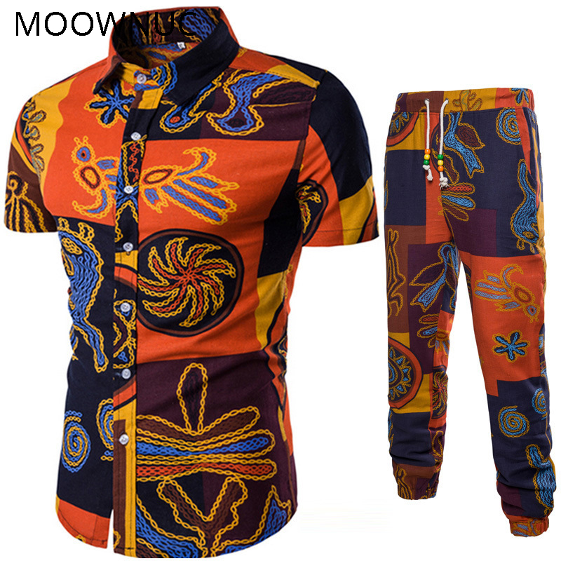 Men's Sets Shirts + Trousers Two-piece Suite Short Sleeve Ethnic Costumes Summer Fashion Mens Clothing Casual Male Printing 5XL