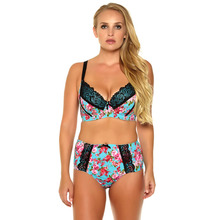 MiaoErSiDai Sexy Women Printting Bra Set Floral With Lace Push Up Underwear Plus Size Brief And  34-44 C-F Cup #BL1253