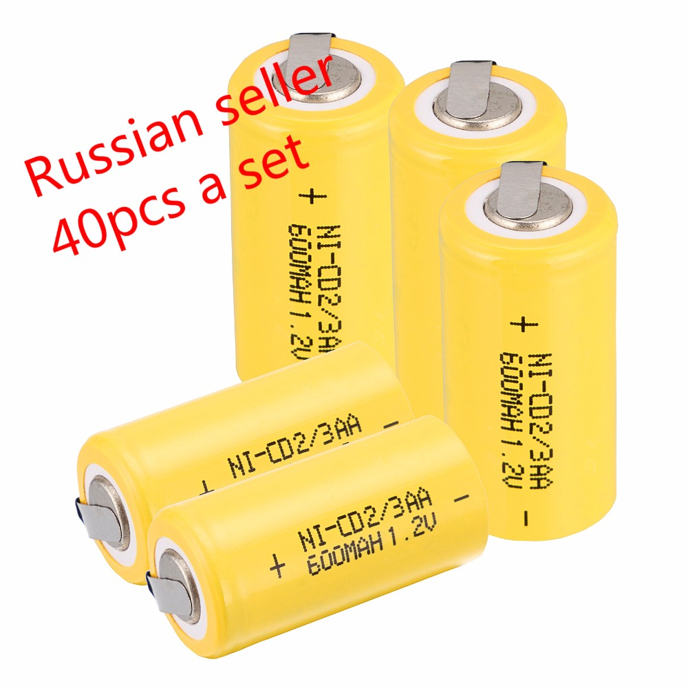 Russian seller! lowest price 40 pcs 2/3AA Ni-Cd 1.2V 2/3AA rechargeable battery NiCd Batteries 600 mah