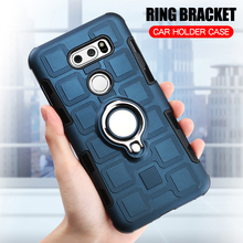 Cover For LG V30 Silicone Shockproof Phone Case Plus H930 V30S V35 ThinQ Luxury Armor Anti-Fall Ring Stand