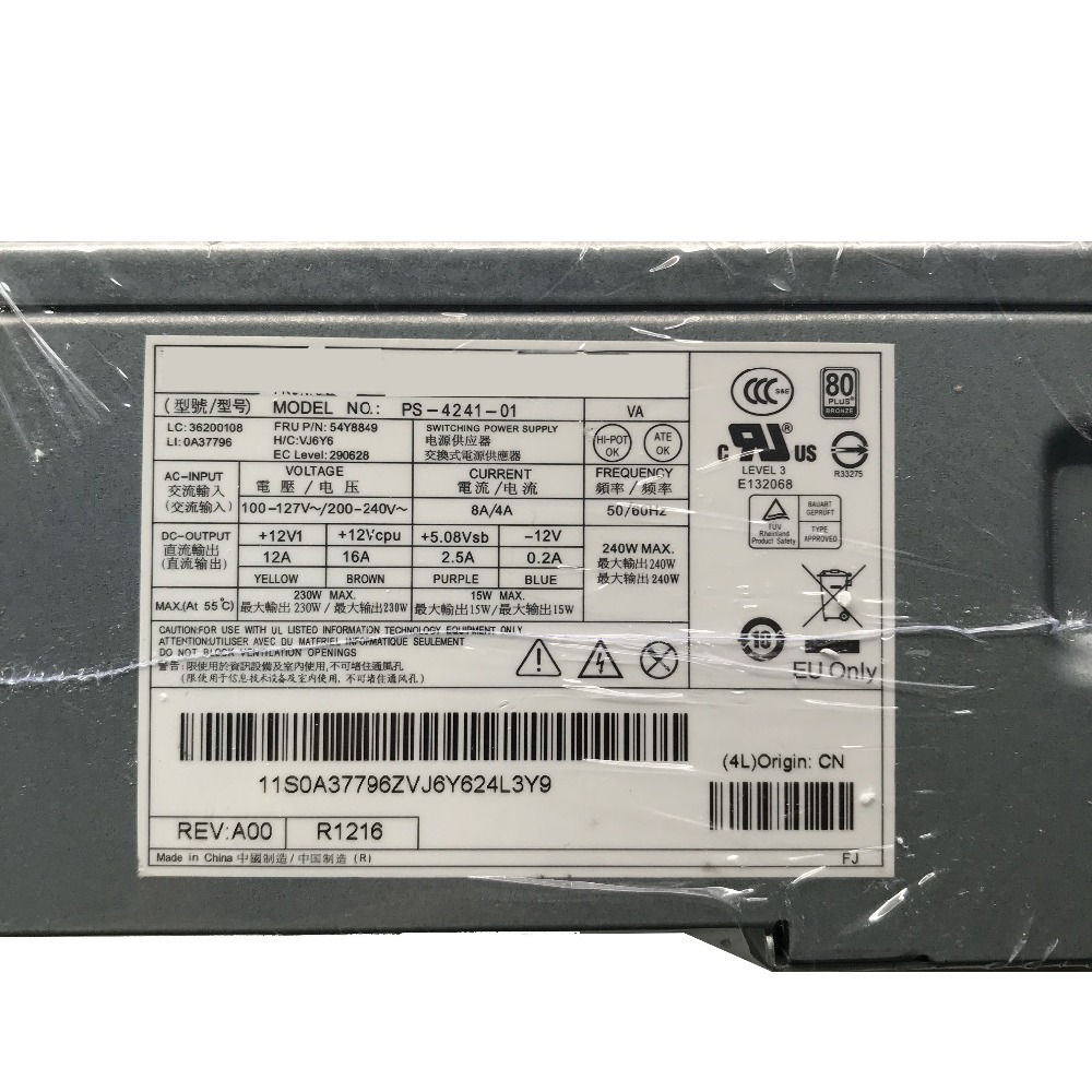 Original PS 4241 01 For Lenovo M92P M82 240W 14 Pin Power Server Power Supply 54Y8849