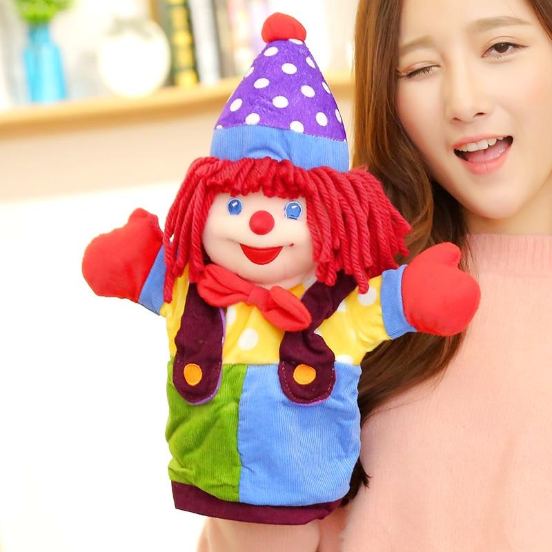 audinys klounas lėlė 37 cm Klounas rankų lėlių mokymosi pagalba lėlės žaisti žaidimą Santa Claus piršto žaislas Cartoon kūdikis favor lėlė Rankų žaislas