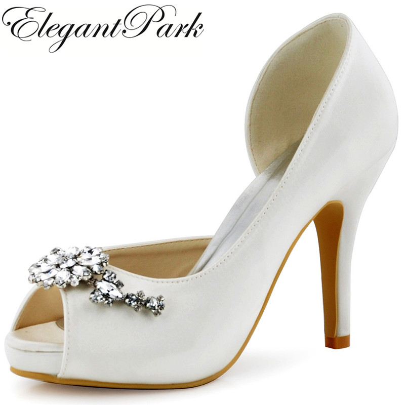HP1552I Women Wedding Bridal White High Heels Pumps Peep Toe Flowers Rhinestones Satin Bride Bridesmaid Prom Evening Dress Shoes free shipping ep2114 3 white women peep toe evening bridal party pumps sandals rhinestones satin wedding shoes