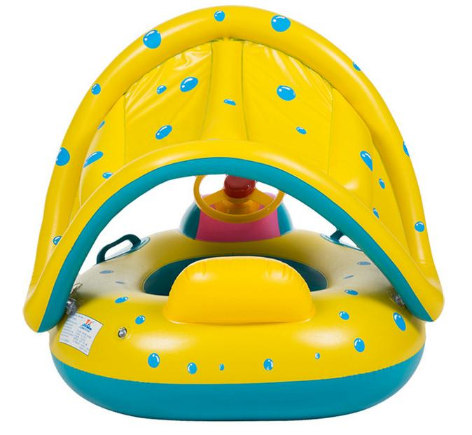 Cute For kids Removable Horn Swim Ring Sunshade Holiday Floating Summer Child Seat Inflatable Swimming toys Water pool tube in Baby amp Kids 39 Floats from Toys amp Hobbies