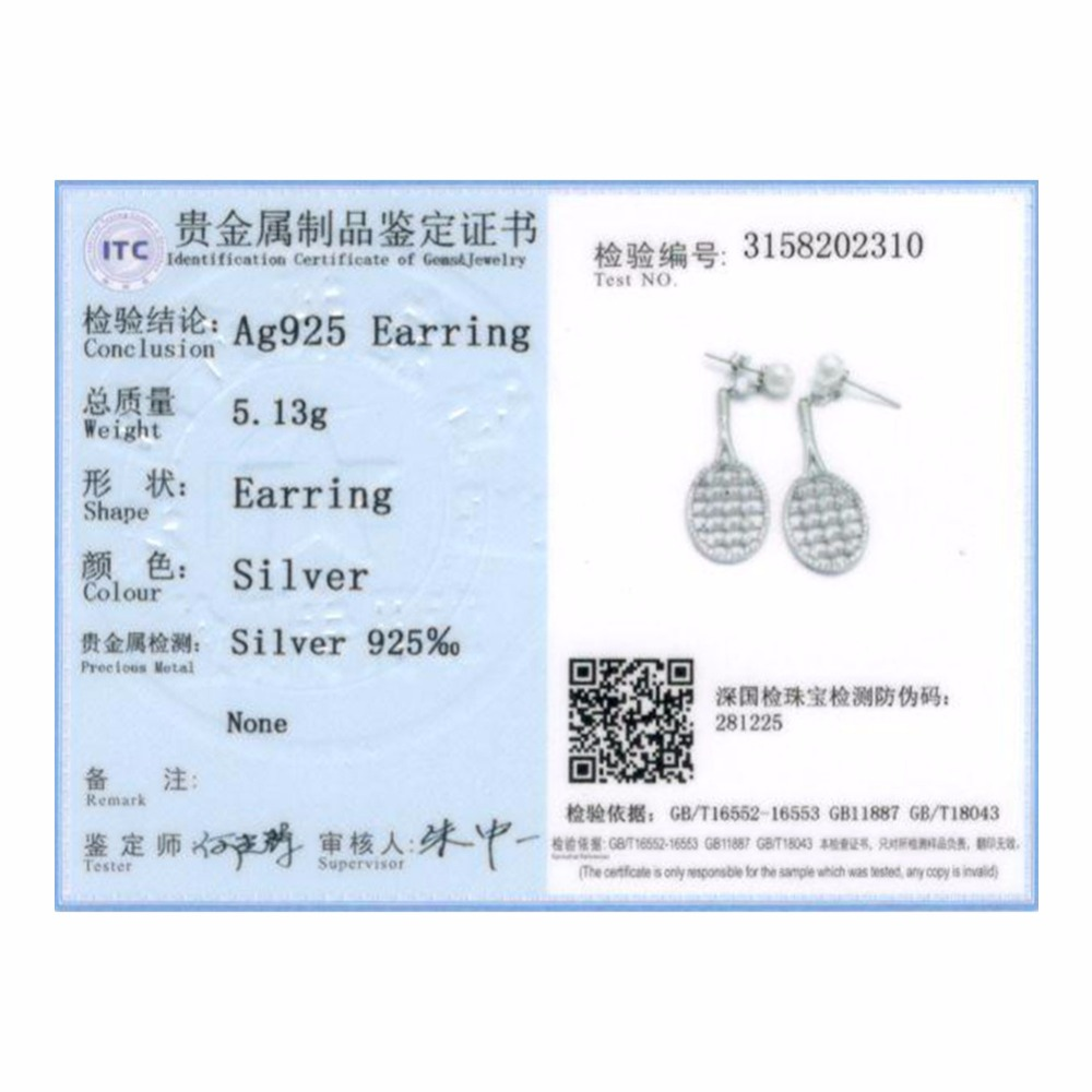LOZRUNVE Original 2018 S925 Drop Earing Austrian Cubic Zirconia Pearls Sterling Silver Badminton Racket Earrings Women Wholesale