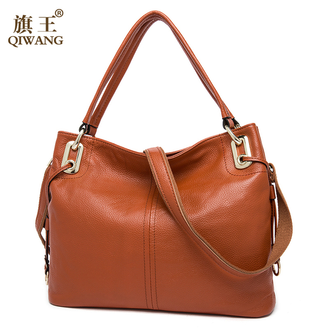 QIWANG 100% Real Genuine Leather OL Style Women Handbag Tote Bag Ladies Shoulder Bags Wholesale price 2016 New HOBO Purse
