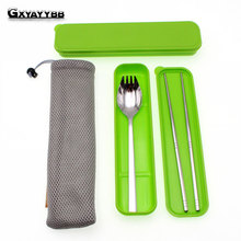 Здесь можно купить   3Pcs Lunch Portable Stainless Steel Dinnerware Tableware Sets Cutlery Three-piece Environmentally Outdoor Travel Adult Tableware Kitchen,Dining & bar