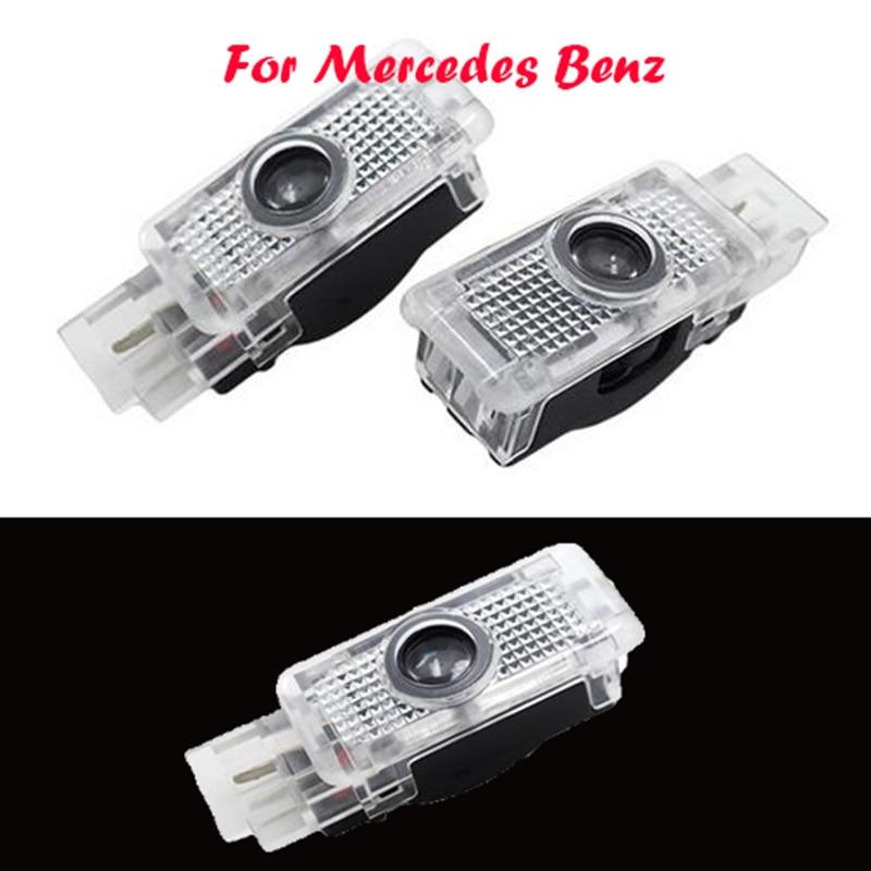 2x LED Car Door Courtesy Laser Logo Projector Light For Mercedes Benz W203 C Class SLK CLK SLR hot 2x led car door courtesy laser logo projector light footwell luggage lamp for audi vw skoda lambo
