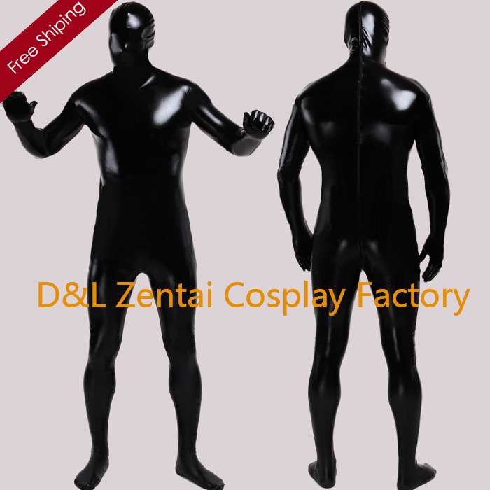 Free Shipping DHL Classic  Full Body Unisex Shiny Metallic Halloween Costume Zentai Suit Sexy Black Color Back Zipper SHS103