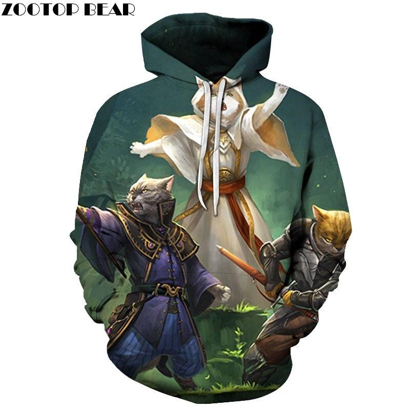 Cat Fighter 3D Printed Hoodie Men Women Sweatshirt Hooded Tracksuit Fashion Pullover Hoody Streetwear Spring Coat Dropship New