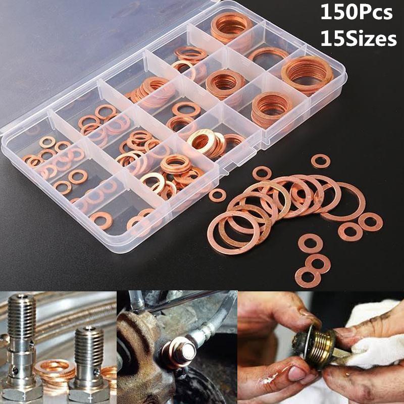 150 pcs/set Solid Copper Sump Plug Washer Set 15 Sizes 9-28mm Free shipping