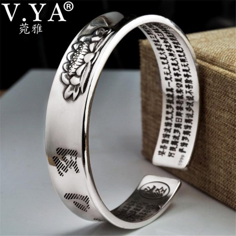 V.YA Solid 999 Sterling Silver Cuff Bracelets Bangles for Women Men Lotus Flower Heart Sutra Thai Silver Jewelry настенный светильник pivotant