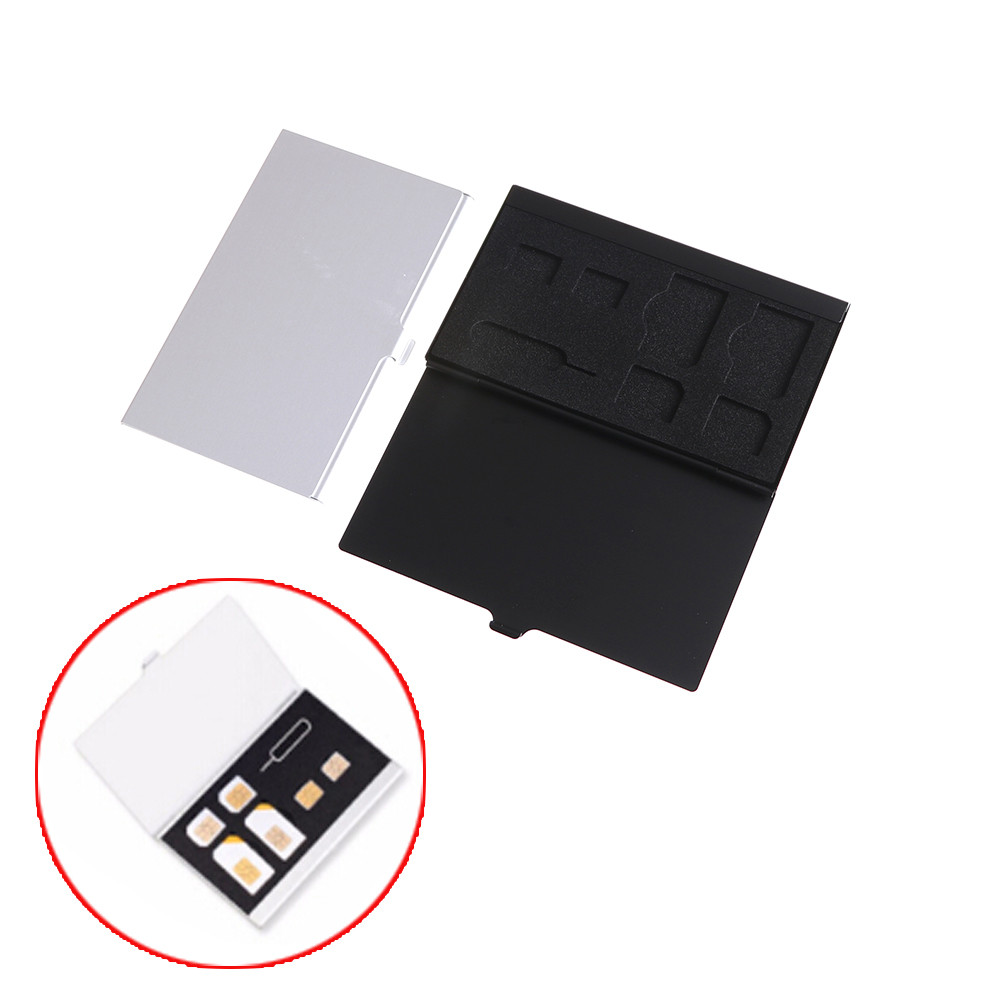 Aluminum Alloy 1 Card Pin + 6 SIM Card Holder Protector Storage Box Case