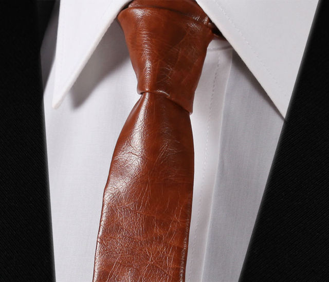 LET1 Brown Leather Tie Casual Classic Fashion Skinny Slim Solid Men Necktie