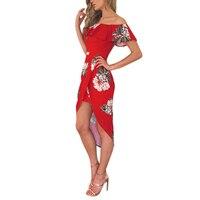 2017 Summer Off Shoulder Ruffles Asymmetrical Dress Women Floral Print High Waist Ruched Dresses Sexy Bodycon Party Vestidos
