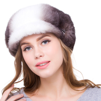 2020 JKP new whole mink female fur hat to keep warm fashion black with white women fur cap DHY18 19