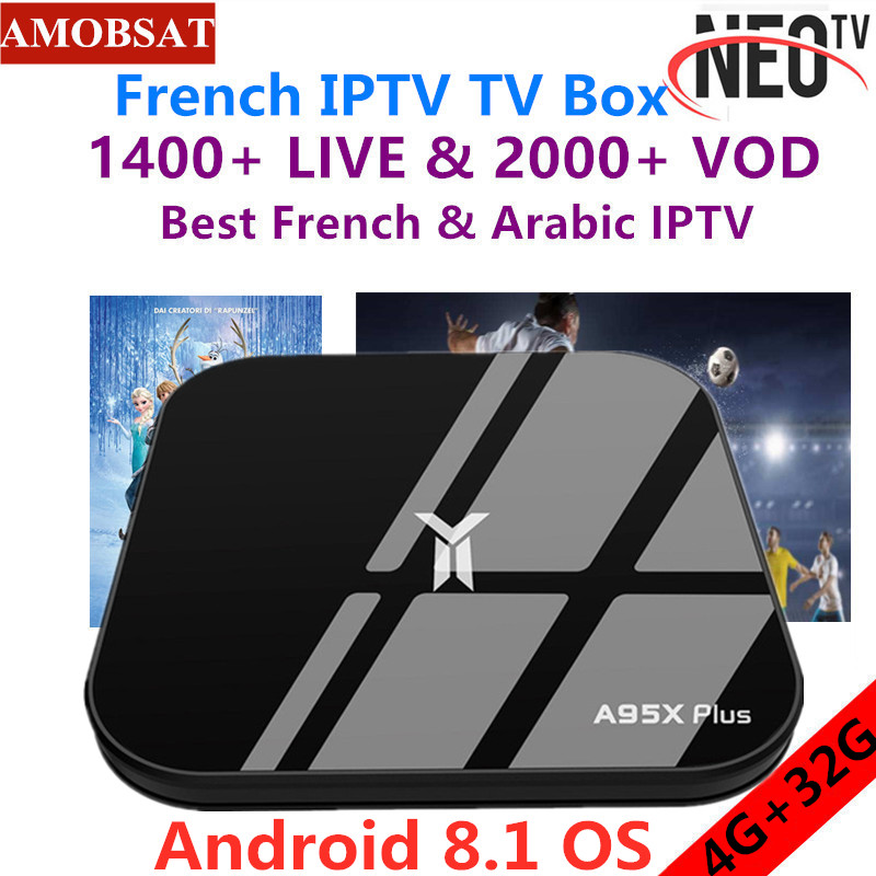 AMOBSAT A95X Plus Android 8.1 Smart TV Box 4GB 32GB Set Top Box+1 Year Neo pro French IPTV Subscription 4K Media Player IPTV Box