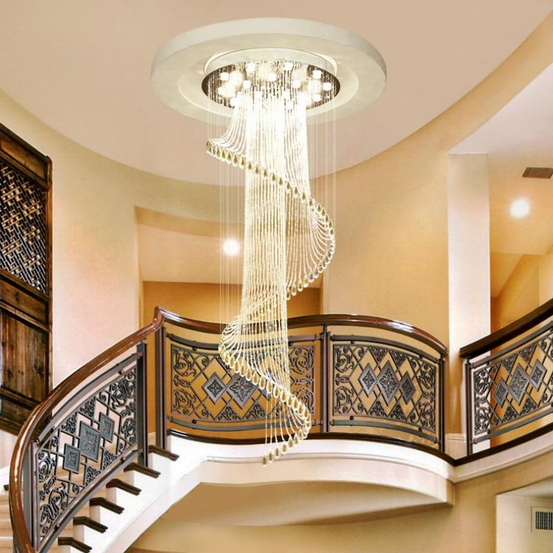 Креативная современная лампа для гостиной с двойной лестницей, длинная люстра, вращающаяся бусина, Хрустальная Подвесная лампа LU9081109