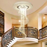 Творческий современной гостиной двойная лестница лампы длинные люстра вращающийся шарик занавес Кристалл висит линия лампы LU9081109