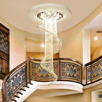 Yaratıcı modern oturma odası çift merdiven lambası uzun avize dönen boncuk perde kristal asılı hat lambası LU9081109