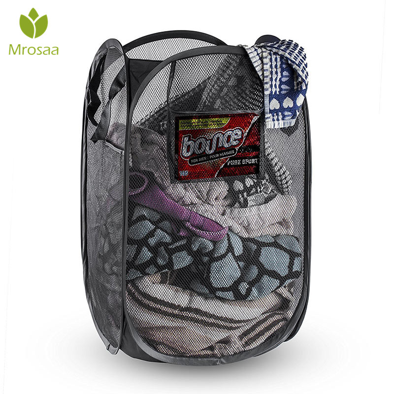 Top Quality Mesh Open Up Washing Laundry Hamper Foldable Laundry Basket Household Clothing Organizer Dirty Clothes Basket