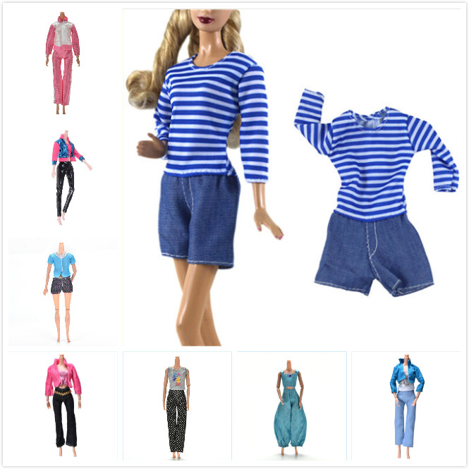Outfit Daily Casual Wear Blouse Shirt Vest Bottom Pant Clothes Crystal Shoes Doll Accessories Gift Handmade
