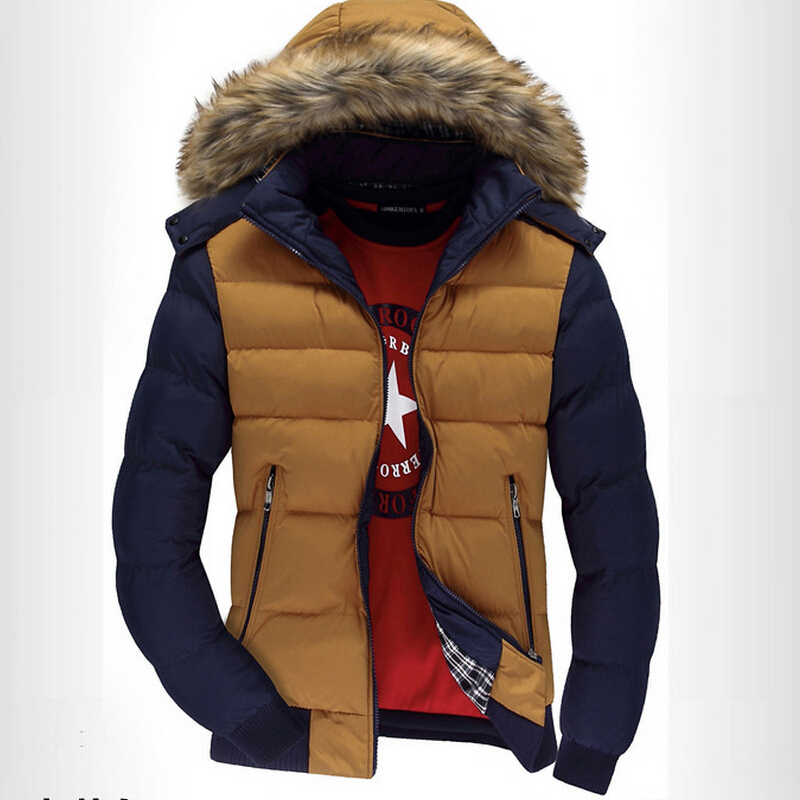 ФОТО Free Shipping New Men in Winter Fashion High-Grade Large Raccoon Fur Collar Winter Thickening Cotton-Padded Jacket For Men