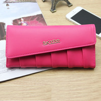 Free Shipping 2015 New Fashion Women Wallet Soft PU Leather Lady Coin Purse Female Long Design