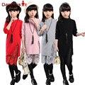 Adolescente Conjunto de Roupas Das Meninas Outono Novas Roupas 2016 Crianças Meninas elegante de Manga Comprida de Renda Camisola & PU Legging Calças 2 pcs conjunto