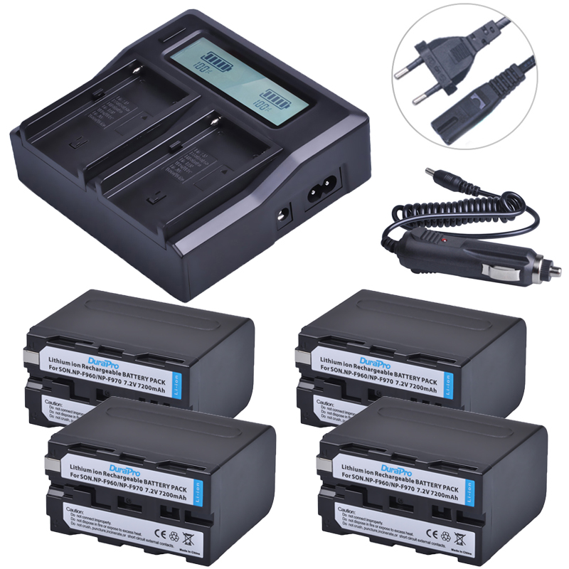 4pc 7200mAH NP-F970 NP-F960 NP F960 F970 Camera Battery +Ultra 3X Fast Quick Charger For Sony F930 F950 F770 F570 F970 CCD-RV100