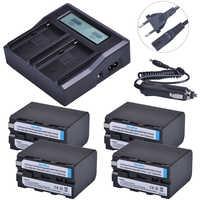 4 pc 7200 mAH NP-F970 NP-F960 NP F960 F970 batería Cámara + Ultra 3X rápido cargador rápido para Sony F930 f950 F770 F570 F970 CCD-RV100