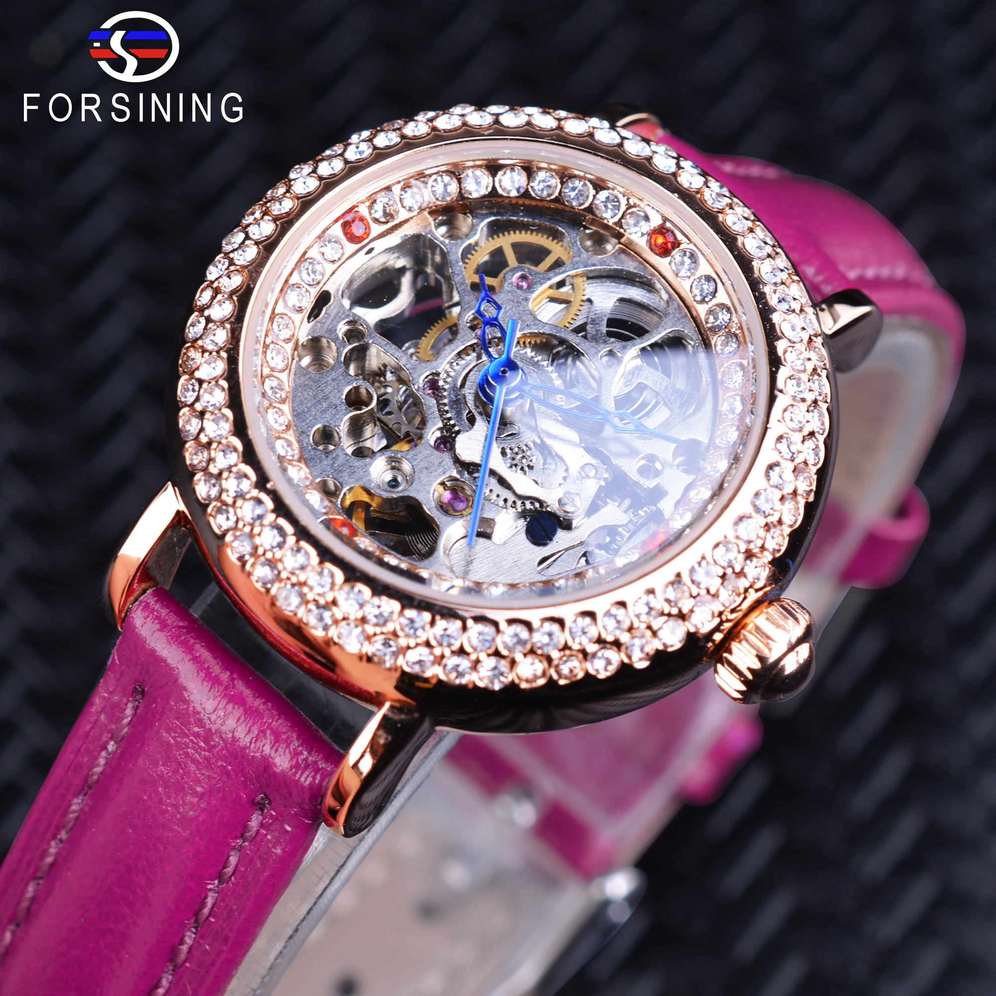Forsining Diamond Display Purple Genuine Band Ladies Small MILAN Street Women Casual Automatic Skeleton Wrist Watch Clock Female