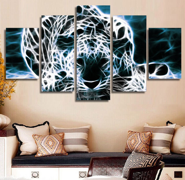5 Pieces Abstract Animal Cheetah Modern Home Wall Decor Painting ...
