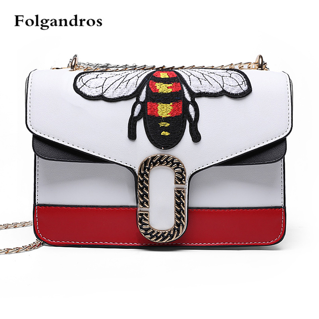 765b75a2d6f US $38.99 |Women Luxury Brand Designer Bee Leather Shoulder Bag Small  White/Black Crossbody Bag with Chain for Girls Bolso Mujer Sac A Main-in ...