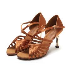 Party Ballroom Professional Dance Shoes Upscale Flash Satin Ladies Aerobics Shoes Latin Dancing Sneakers Buckle Heel SASAN S-121