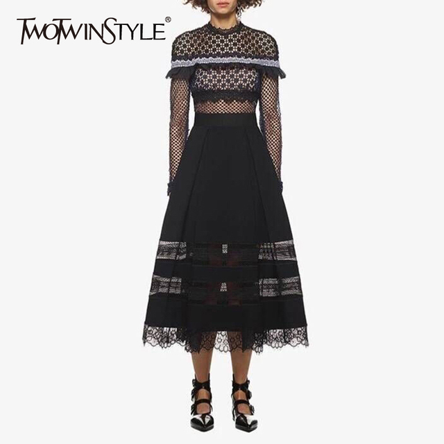 TWOTWINSTYLE Patchwork Lace Floral Party Dress Female Long Sleeve Ruffle Midi Dresses Women Sexy Clothing 2018 Summer Autumn New