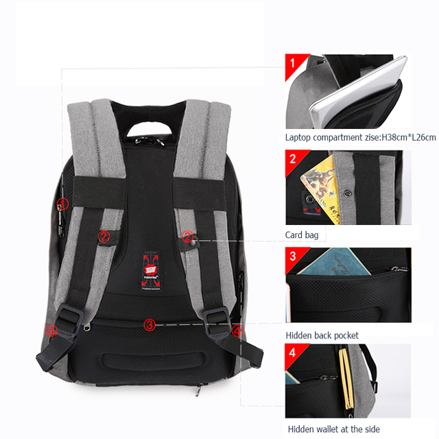 Tigernu Anti theft 15.6inch Laptop Backpack Men Women USB Backpack Male Mochila School Bags for teenagers Casual Laptop Bag 4