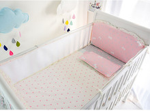 Promotion! 5PCS Mesh bow baby bedding set bumper bed sheet crib bedding set,(4bumpers+sheet)