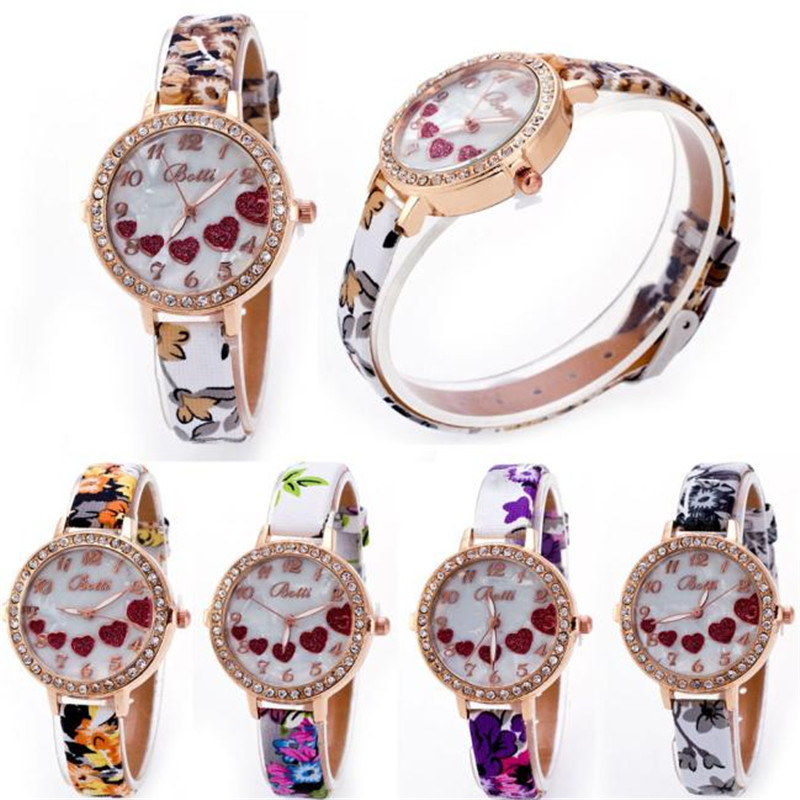 Dial Loving Heart Ladies Faux Leather Strap Band Flowers Print Analog Watch Brand Fashion Casual Quartz Wrist Watch For Women fashion dress watch elegant crystal dial red faux leather band strap blink quartz analog casual lady women wrist watch stylish