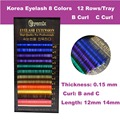 Free Shipping Korea Eyelash Extension 8 colors 0.15 Thickness 12mm 14mm Individual Mink False Eyelash Extension