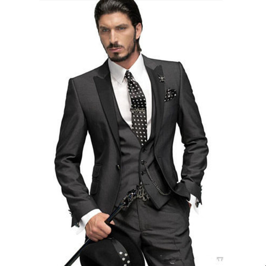 Aliexpress.com : Buy Slim Fit Custom Made Groom Tuxedos Peak Lapel