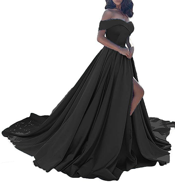 Vestido longo, сексуальные вечерние платья с разрезом, с открытыми плечами, платье для выпускного вечера,, официальное вечернее платье, Vestido De Noiva - Цвет: Black