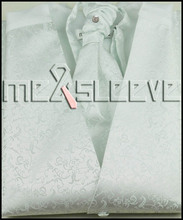 hot sale free shipping woven polyester white fabric waistcoat(vest+ascot tie+handkerchief+cufflinks)