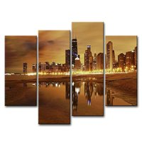 4 Panels Set City Beautiful Night HD Canvas Print Painting Artwork Wall Art Picture Decorative Painting