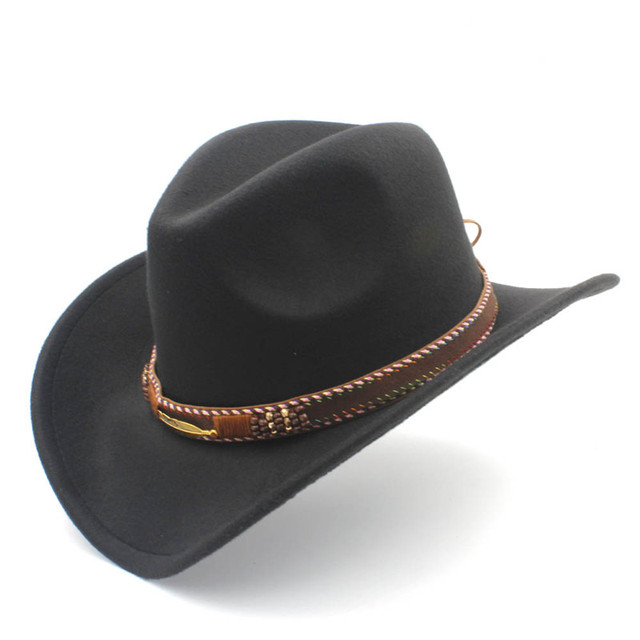 2a6068b4c0d Women s Men s Woo Hollow Western Cowboy Hat for Winter Autumn Fashion Belt  Size 56-58CM Cowgirl Jazz Toca Sombrero Cap
