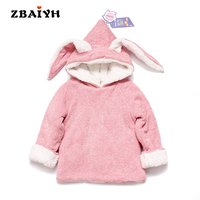 2016 New Thick Fleece Warm Jacket Cute Outerwear Cartoon Cosplay Baby Girls Cotton Hoodies Long Ears